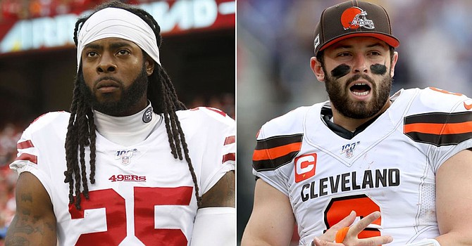 Richard Sherman vows to apologize to Baker Mayfield over handshake claims.