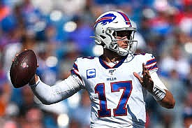 Josh Allen takes aim at Baker Mayfield in their first NFL meeting. (BostonGlobe.com)
