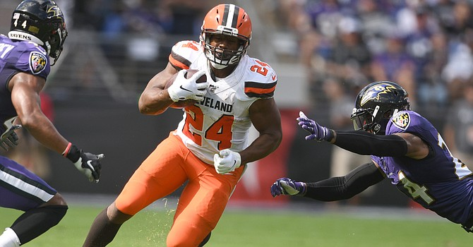 Nick Chubb surpassed 1,000 yards against Pittsburgh and now has been honored as the team's nominee for the Art Rooney Award for sportsmanship. (USAToday)