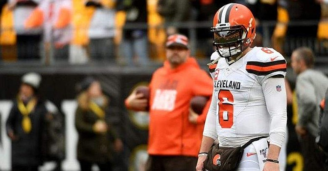 Baker Mayfield ended the game on an interception to former Browns CB Joe Haden as Cleveland falls in Pittsburgh, again. (Heavy.com)