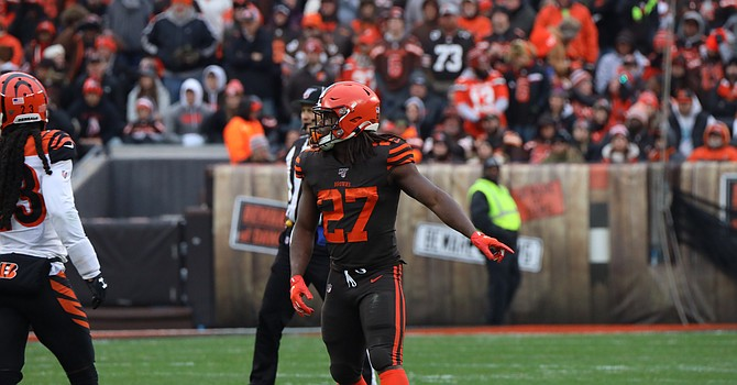 The future of Kareem Hunt is among decisions that must be made soon by the new Browns' football operations department. (Rob Lorenzo)