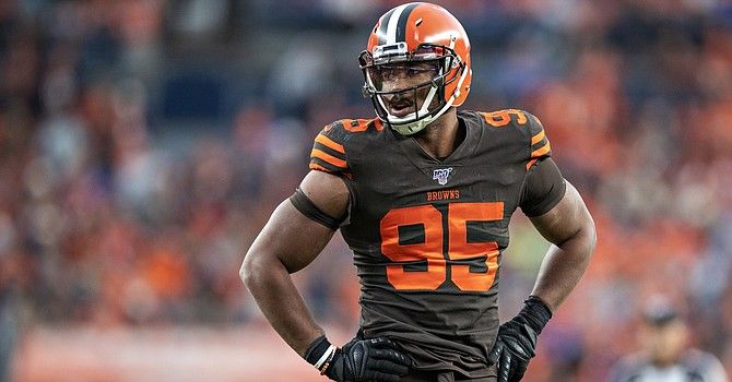 Myles Garrett, who met with NFL reps in New York on Monday, has been training for his return from NFL suspension. (Wesley Hitt/Getty Images)