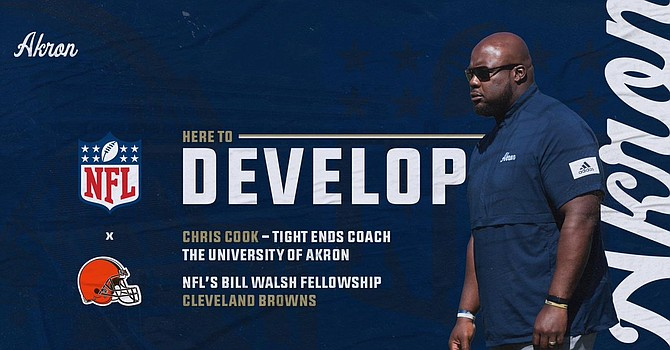 University of Akron receivers coach Chris Cook is one of six Bill Walsh Diversity Coaching fellows named by Browns. (trendsmap.com)