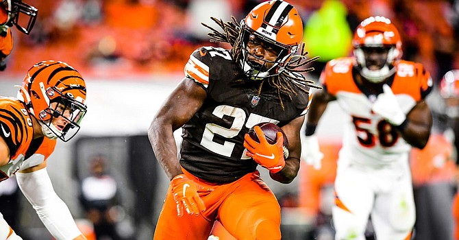Kareem Hunt and Nick Chubb showed again on Thursday night why they should be the identity of the Browns. They may shatter the combined rushing total record of two 1,000-yard rushing teammates. (Cleveland Browns)