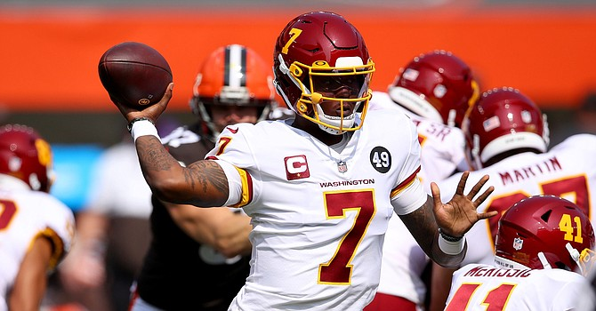 Former Ohio State Quarterback Dwayne Haskins struggled as he gave up three interceptions on 224 yards passing. (Gregory Shamus/Getty Images)