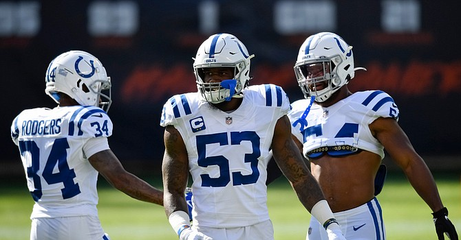 The playing status Sunday of All-Pro linebacker Darius Leonard, a big key to the Colts' No. 1-ranked defense, is uncertain after he suffered a groin injury in Sunday's 19-11 win over the Bears. (USAToday)