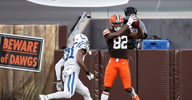 Rashard Higgins collects his first touchdown catch of his 2020 campaign in the first half against Indianapolis. (Gregory Shamus/Getty Images)