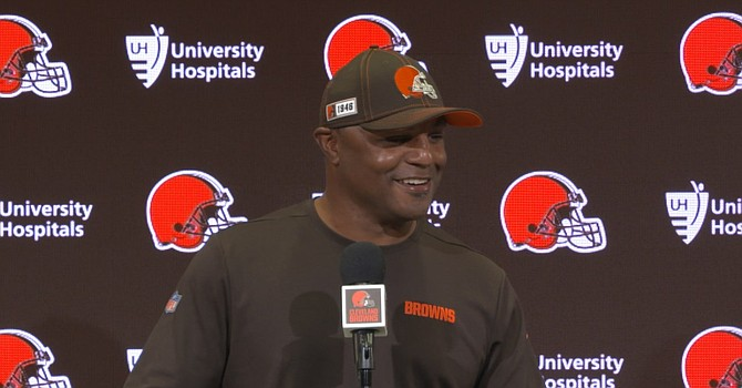 Browns defensive coordinator Joe Woods, who considers Steelers coach Mike Tomlin his top coaching mentor, has to sort out his defense's depleted safety situation by Sunday. (Cleveland Browns)