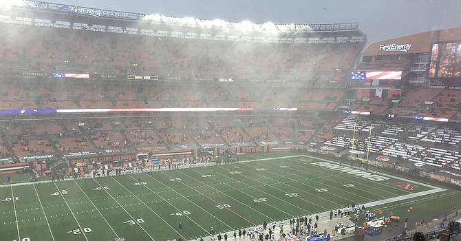 This was the scene during the National Anthem inside FirstEnergy Stadium. (TLOD)
