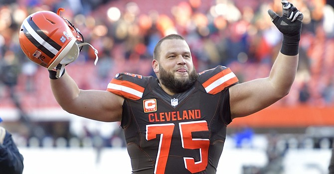 Guard Joel Bitonio, the longest-tenured Brown, has had his first career playoff appearance taken away by Covid-19. (News5Cleveland)