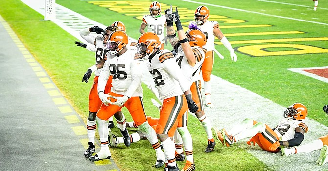 The Browns won their first playoff game in 26 years in a 48-37 thriller against the Steelers in Pittsburgh. (Matt Starkey/Cleveland Browns)