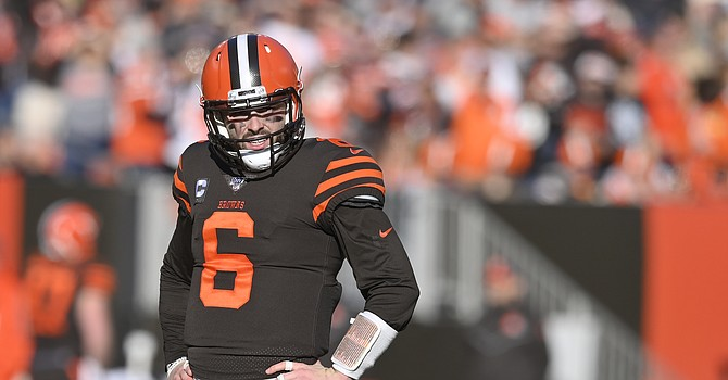 Baker Mayfield joins Aaron Rodgers, Russell Wilson and Derek Carr as the only quarterbacks to start every game for his team since Game 4 of 2018. (Associated Press)