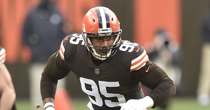 Myles Garrett was the biggest name joining voluntary Browns OTAs for the first time on Tuesday. (Associated Press)