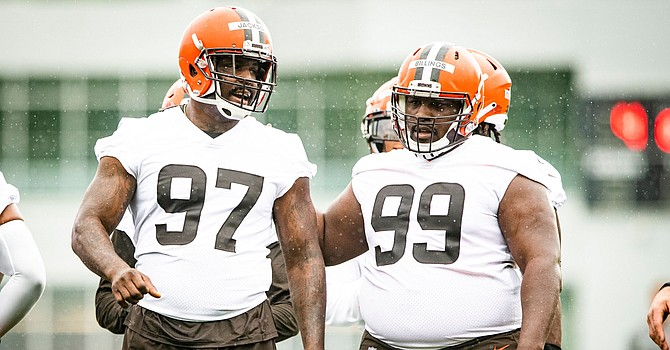 Tackles Malik Jackson (97) and Andrew Billings were among the new faces on defense attending Browns OTA practice on Wednesday. (Cleveland Browns)