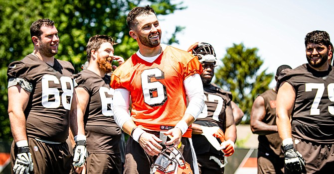 Baker Mayfield was all smiles at Browns minicamp. Why not? He's in line for a mega-contract extension that will be the largest in franchise history. (Cleveland Browns)